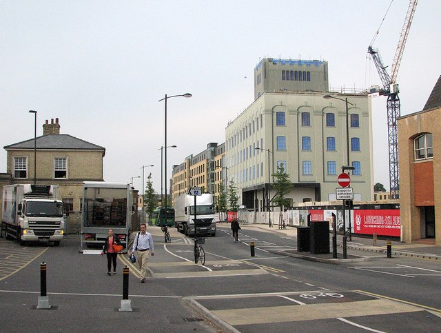 Cambridge Station forecourt and wrapped flour mill