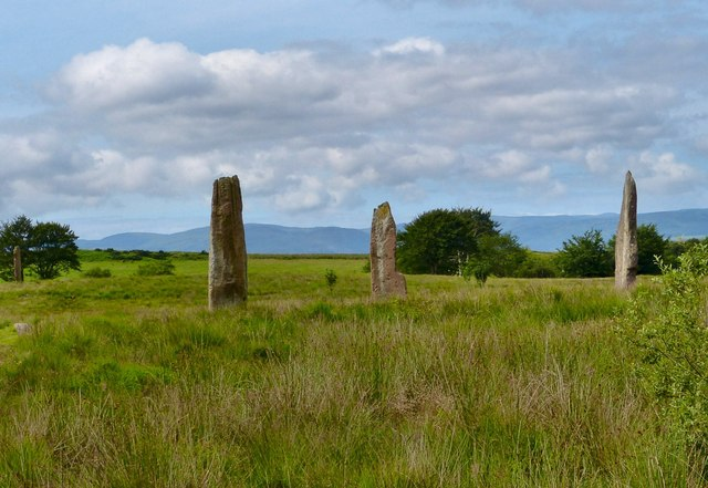 Three standing stones on Machrie Moor