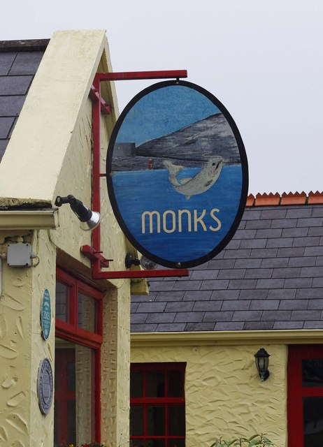 Monks Bar & Restaurant (2) - sign, Old Pier, Ballyvaughan, Co. Clare