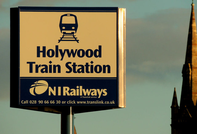 Name sign, Holywood station