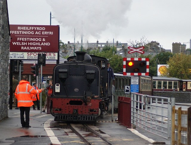 Welsh Highland Railway train on Britannia Bridge Crossing