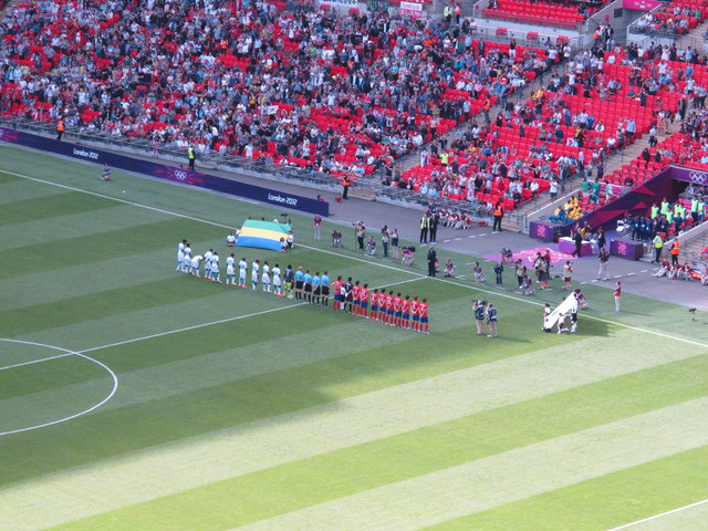 S Korea v Gabon line up, Olympics men's football, Wembley