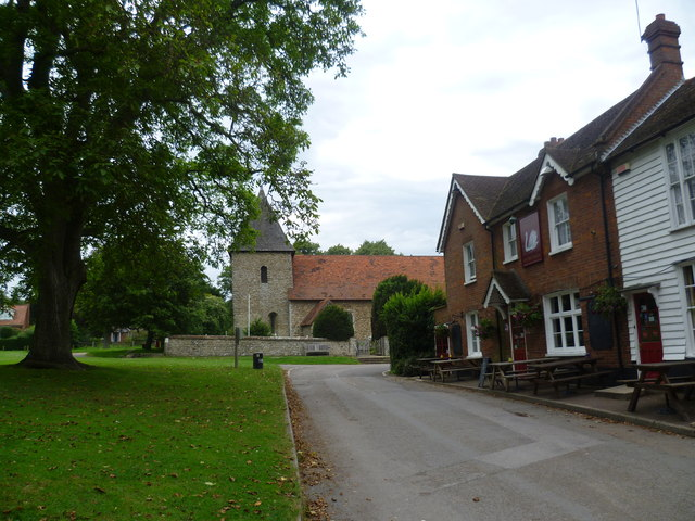 St Dunstan, West Peckham alongside the village green