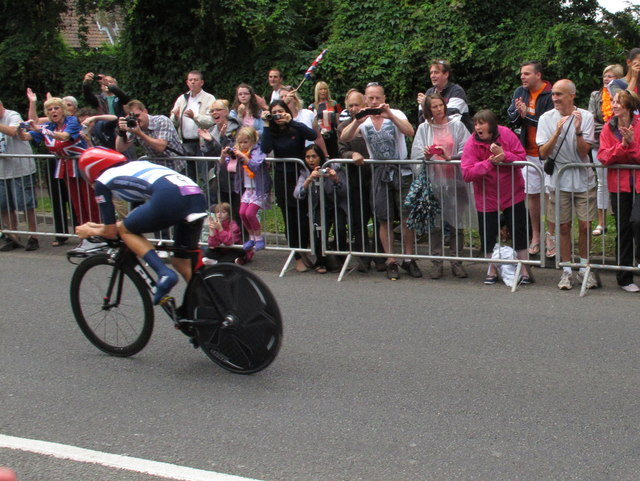 The crowd cheers on Team GB, Olympics cycling time trial