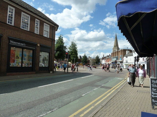 View NW along the High Street Market Harborough