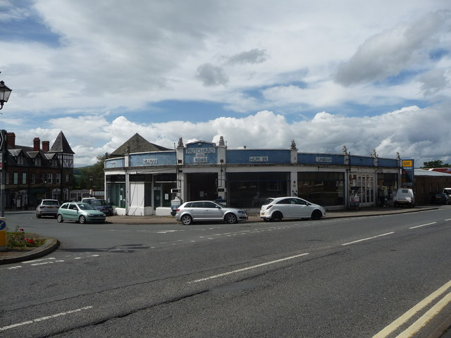 Old motor dealership building in Llandrindod Wells