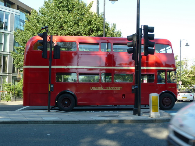 Routemaster bus approaching Chelsea Bridge