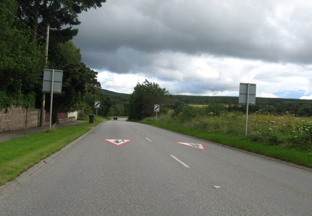 The A957 leaving Crathes in Aberdeenshire behind