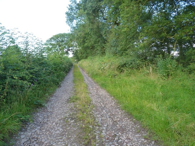A gated bridleway west of Howlet Hall farm