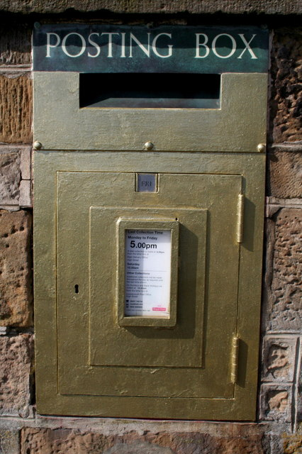 Seine net and gold post box - Pioneered in Lossiemouth