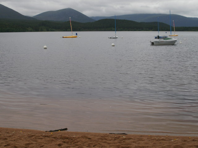 Boats and buoys on Loch Morlich