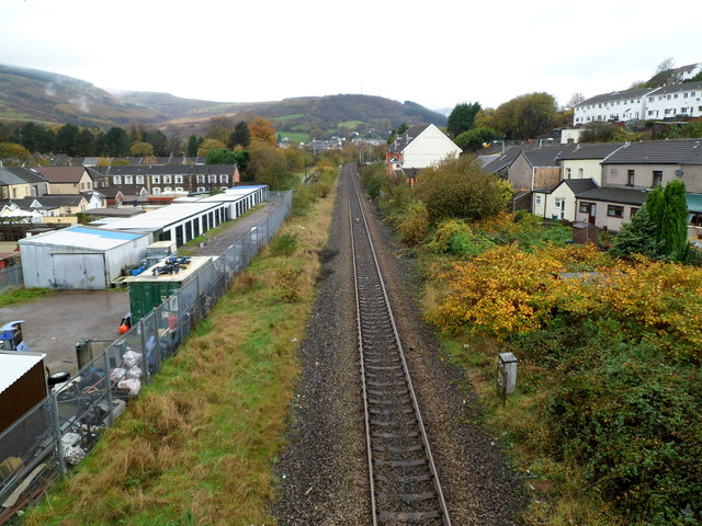 Gelli: Looking towards Ton Pentre along the Rhondda Line railway
