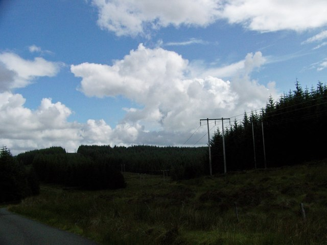 Power lines beside the Otter Ferry to Glendaruel road