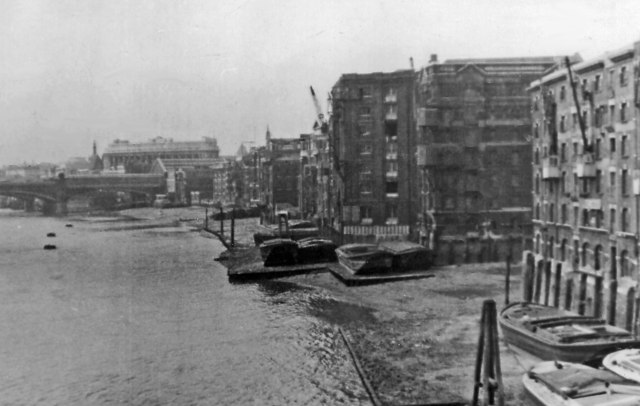View upstream from Southwark Bridge along north bank of Thames to Blackfriars Bridge, 1955