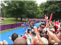 TQ2779 : Olympics women's triathlon Hyde Park - running by David Hawgood
