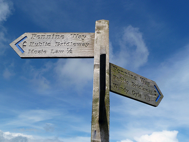 A signpost on the Pennine Way