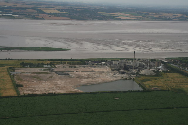 Cemex cement works and the Humber, aerial