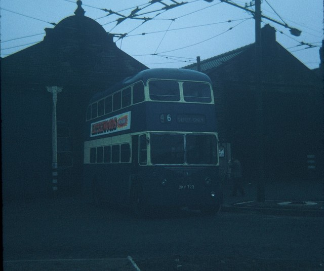 Bradford Trolleybus outside Thornbury Depot