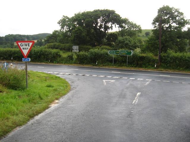 Junction at Earlheugh on the A68 south of Jedburgh