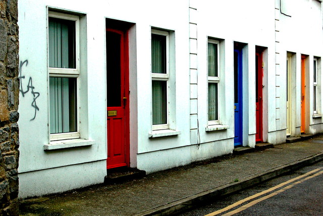 Ennis - Westby's Lane - Dwellings with Red, Blue, Yellow & Orange Doors