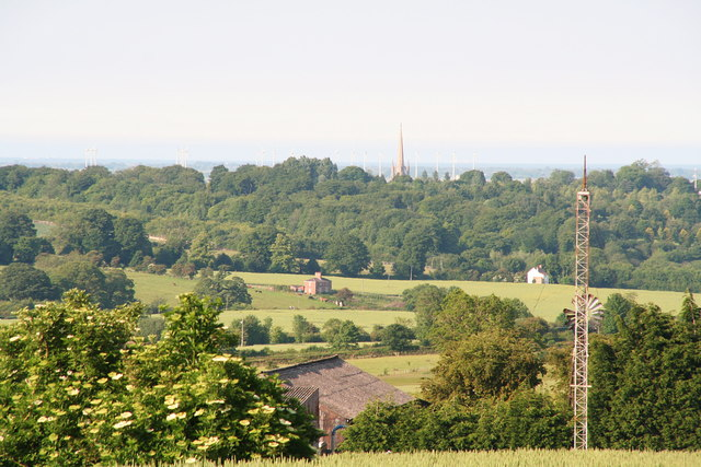 View of St.James Church Louth - and twenty wind turbines