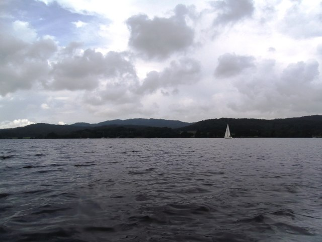 Yacht on a grey Windermere