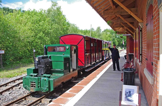 Train at Apedale Valley Light Railway station, Apedale Community Country Park, near Chesterton