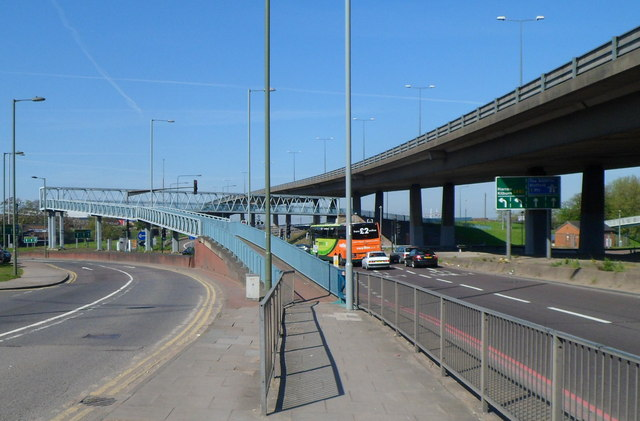 Long ramp up to a footbridge under the North Circular Road, London NW2