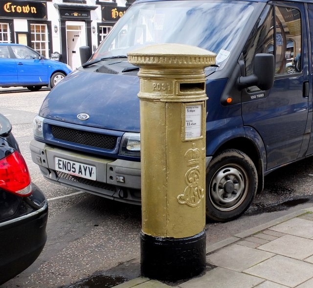 Olympic gold pillar box, Peebles High Street