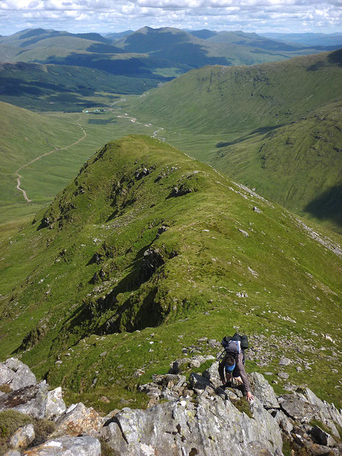 Scrambling up Stob an Tighe Aird, Ben Lui