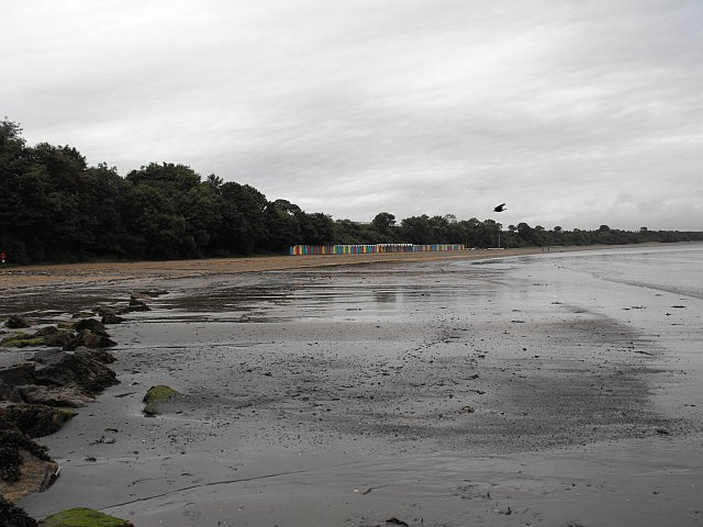 View north up Llanbedrog beach