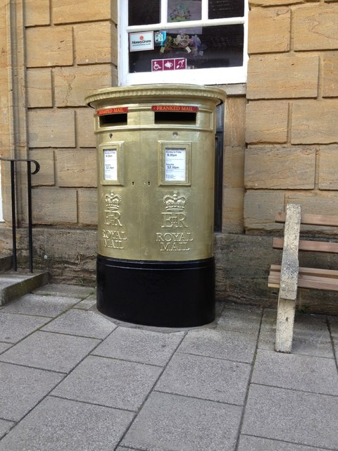 Olympic Gold Pillar Box, Sherborne