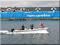 SU9377 : TV camera and commentator boat, Eton Dorney Olympics course by David Hawgood