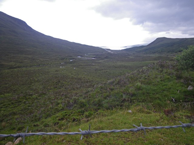 Looking down the valley of Abhainn Torra-mhichaig