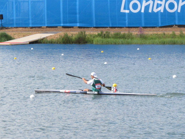 Joshua Utanga of Cook Islands in Eton Dorney Olympics sprint canoeing