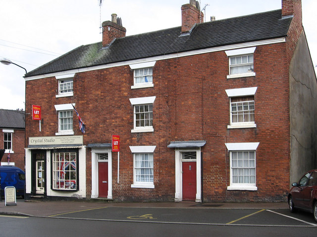 Tutbury - shop and houses at end of High Street