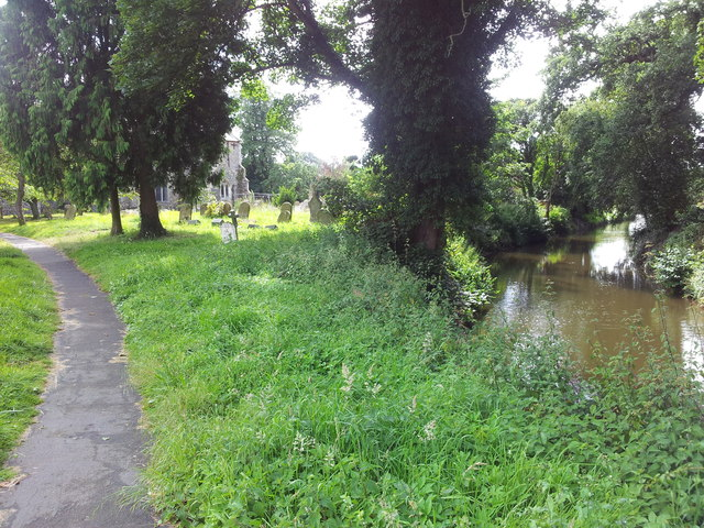 Footpath to church alongside the moat