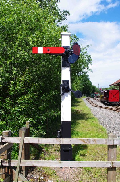 Railway signal near Apedale Station, Apedale Community Country Park, near Chesterton