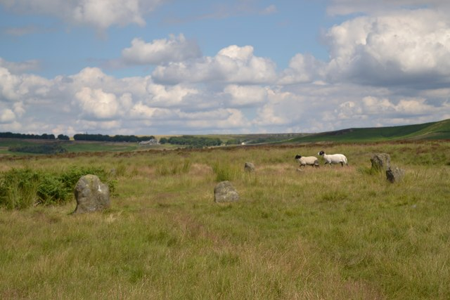 The ancient stone circle above Hordron Edge