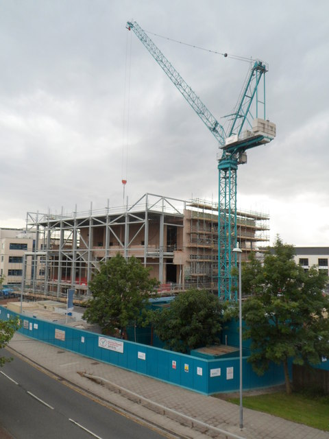 Magistrates' Court construction site viewed from George Street bridge, Newport