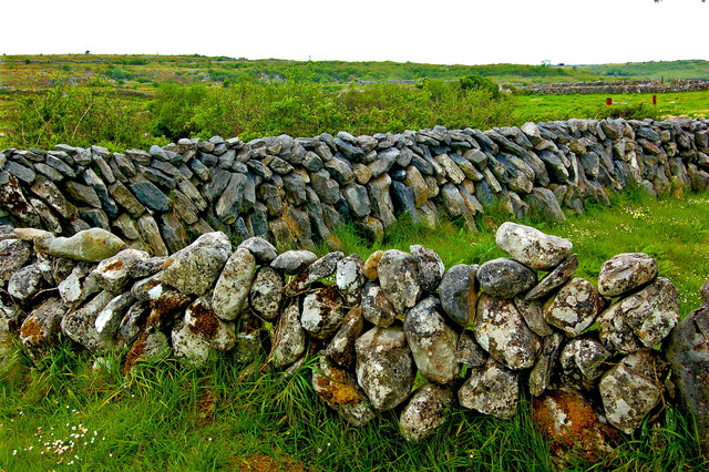 The Burren - R480 - Curve in Stone Wall near Poulnabrone Dolmen Parking Area