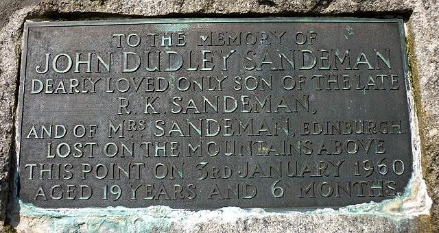John Sandeman memorial plaque, Lundie, Strath Cluanie