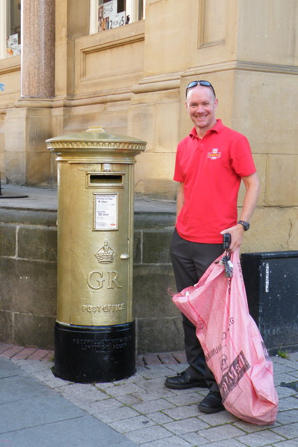 Jess' Golden Post Box complete with Postman, Barker's Pool, Sheffield
