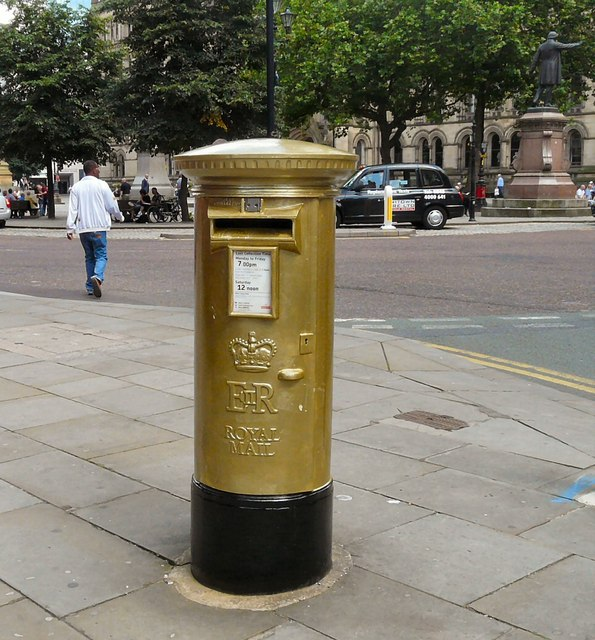 Gold Postbox, Albert Square, Manchester