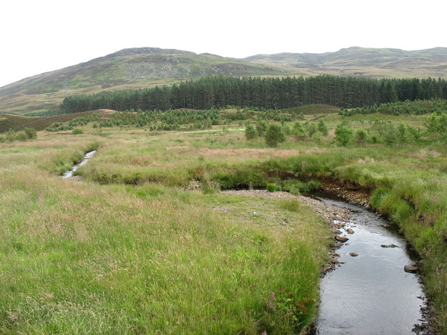 A small burn near Corrymuckloch, looking east