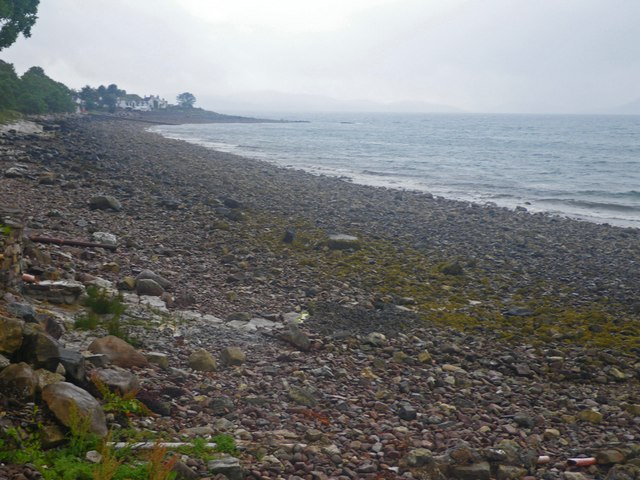 Looking down the shingle beach along the Inner Sound