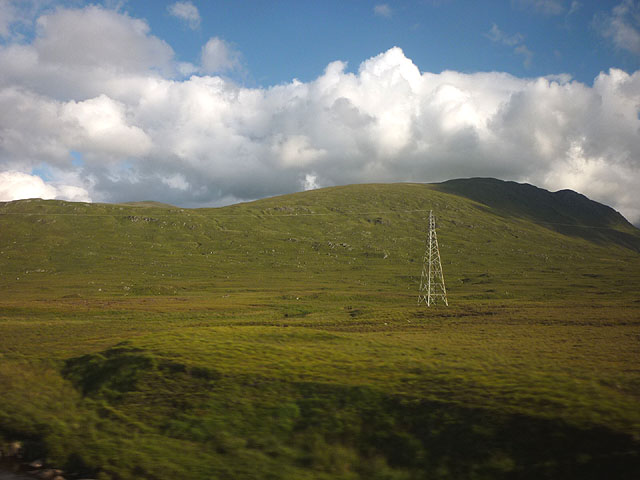 A power pylon at Gorton Crossing on the West Highland Railway