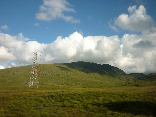 Power pylon and Creag Mhor (788m)
