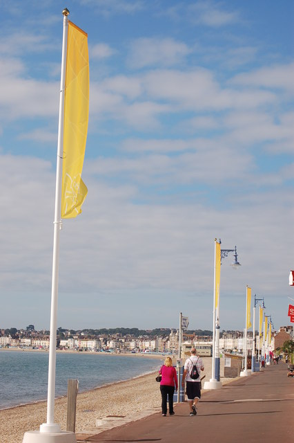 Olympic banners on Weymouth esplanade in August 2012
