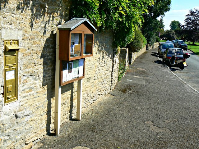 South past the village post box, Ampney St Peter, Gloucestershire